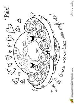 Coloring on the theme of peace, peace babies - Hugolescargot.com