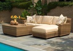 Furnitures : Great Wicker Patio Furniture Sofa Have Full Wicker Table For Outdoor Around Brick Wall Design With The Plants Front Beautiful Swimming Pool How to Make Wicker Patio Furniture Durable In Winter. Green. Bed Bath And Beyond.