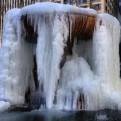 Icicle Wave Proves That We Are Living Inside Frozen [Update] #refinery29  http://www.refinery29.com/2015/02/82656/15-photos-living-giant-ice-cube#slide-2  The Bryant Park fountain in Manhattan has completely frozen over, and no, it isn't because Kanye presented at Fashion Week.