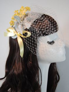 Yellow Fascinator with short Wedding Veil - Mother of the Bride Hat - Occasion Hat - Wedding Fascinator - Derby Hat - Sandy