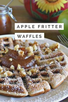 Apple Fritter Waffles is part of Waffle iron recipes - One of my favorite Autumn treats Apple Fritters are reinvented in these amazing Apple Fritter Waffles Top with fresh apple butter and chopped walnuts Breakfast Desayunos, Breakfast Dishes, Breakfast Recipes, Dessert Recipes, Mexican Breakfast, Pancake Recipes, Crepe Recipes, Breakfast Sandwiches, Food Trucks