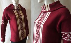 Beautiful vintage wool sweater from Finland by Teroma, in deep cranberry red and cream, with wide foldover neck, women's medium by afterglowvintage on Etsy European Style, European Fashion, Vintage Wool, Stripes Design, Wool Sweaters, Finland, Knitwear, Vintage Outfits, Men Sweater