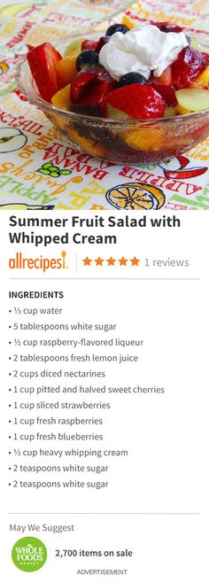 "Summer Fruit Salad with Whipped Cream | ""The summer fruits are starting to come in season, so bring on the fruit salads!!"""