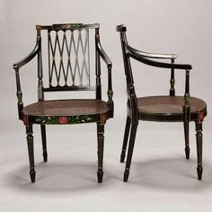 Image of Swedish 19th-Century Caned Chairs - Set of 6