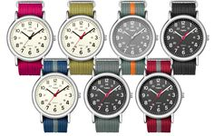 Timex... The Timex Weekender is a an affordable watch with classic styling. There are a variety of interchangeable straps that are at only 6.99 @Target or  if you want to go highbrow, @ J.Crew