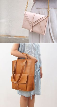DIY Leather Bag Tutorial - Time To Get Creative diy leather product ideas Handmade Handbags, Handmade Bags, Handmade Leather, Diy Handbags Leather, Diy Leather Tote Bag, Leather Totes, Diy Fashion, Fashion Bags, Leather Accessories