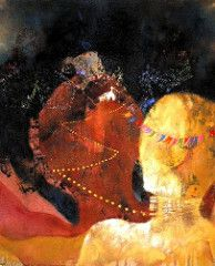 sobe à lembrança a ocre dança - silk e acrilica s tela - 42 x 52 - 2003