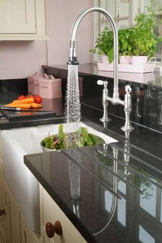 Faucets for the Period Kitchen Pull-Down Faucet for Period Kitchen - JACLO's model with swivel gooseneck, deck-mount bridge styling.Pull-Down Faucet for Period Kitchen - JACLO's model with swivel gooseneck, deck-mount bridge styling.