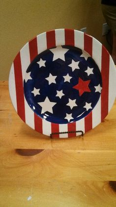 Simple, hand painted Fourth of July plate