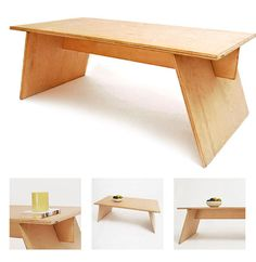 "A real simple bench/coffee table that looks neat. See also this ""how to"" from Maker Mag http://www.make-digital.com/make/vol09/?pg=131#pg133 which was written by the same guy as accredited on the original link."