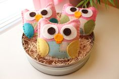 I am IN LOVE! Addition to the centerpiece.   Mini Felt Plush Toy Baby Isabellas The Owls  by dropsofcolorshop