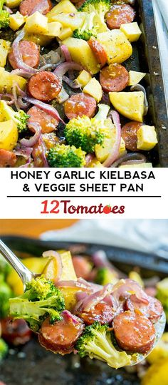 Honey Garlic Kielbasa and Veggie Sheet Pan Dinner - Sheet pan meals have weeknight savior status, and this one is all about the sauce. Sausage Recipes, Pork Recipes, Veggie Recipes, Chicken Recipes, Cooking Recipes, Recipies, Easy Cooking, Healthy Cooking, Supper Recipes