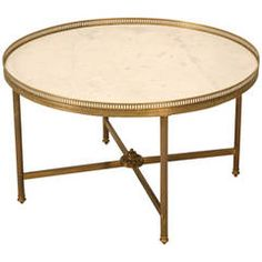 Vintage French Marble and Brass Cocktail or Coffee Table