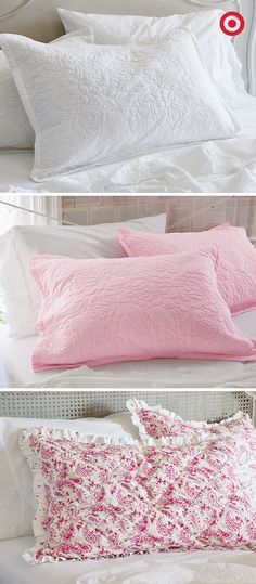 Love the crispness of a white bed but also love color and texture? With Simply Shabby Chic bedding—these quilted pillow shams to be exact—you can easily switch out pillows every time you want to try a new color scheme.