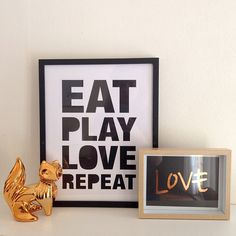Eat Play Love Repeat Print and Love copper foil print on black card from www.mysweetprints.com.au