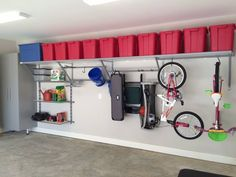 You will never need another garage shelving system! Monkey Bars Garage Storage m… You will never need another garage shelving system! Monkey Bars Garage Storage moves and grows as your storage needs do. What could be better than that? Garage Organization Tips, Garage Storage Solutions, Diy Garage Storage, Garage Shelving, Garage Shelf, Garage Workbench, Garage Cabinets, Shelving Ideas, Carport Storage