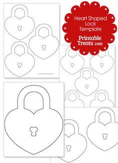 Printable Heart Shaped Lock Template from PrintableTreats.com