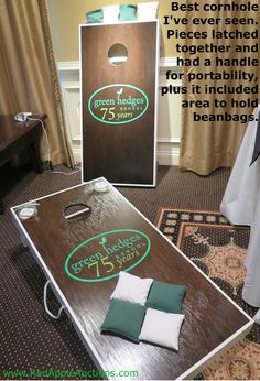 Cornhole is a popular school auction item -- never saw one this nice before, though.