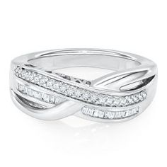 1/4 ct. tw. Mom Diamond Crossover Band in Sterling Silver - Rings - Clearance - Helzberg Diamonds