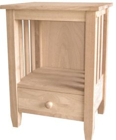 """Mission End Table with Drawer Our solid Hardwood Mission End Table features a lower drawer for handy storage. Dimensions: 21""""W x 17.25""""D x 29""""H. Ships unfinished and unassembled. Free Shipping!"""