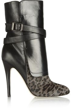 Jimmy Choo Leopard print calf hair nappa leather ankle boots