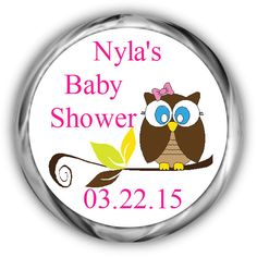 Owl Baby Shower Hershey Kisses Stickers - Personalized Look Whoo's Kiss Favors