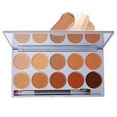 DE'LANCI 10 Colors Cream Concealer Contour Palette Pro Face Concealer Highlighting Contouring Kit Complete Coverage Camouflage Concealer Cosmetics Set with Mirror Make Up Brush Tool * Awesome product. Click the image : Online Makeup Products