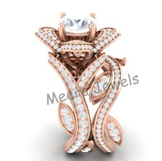 Rose Gold Plated Unique Designer Rose Shape Wedding Engagement Bridal Ring | eBay