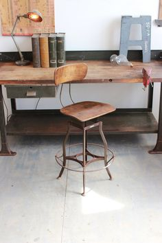 Early Vintage Industrial Toledo UHL Draftsman Stool w/ Extra Large Footrest Ring - 1930s
