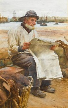 """News From Afar"" by Walter Langley (1852-1922), English Painter & Founder of the Newlyn School .... Signed & Dated 1900 ...."