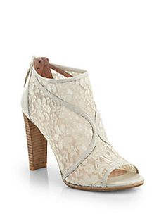 Stuart Weitzman - Meshly Lace & Leather Ankle Boots