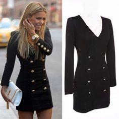 Vestito corto nero con bottoni scollatura V manica lunga abito tubino blog dress