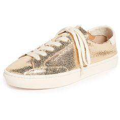 Soludos Metallic Lace Up Sneakers (€53) ❤ liked on Polyvore featuring shoes, sneakers, pale gold, leather espadrilles, espadrilles sneakers, metallic flat shoes, leather sneakers and metallic shoes