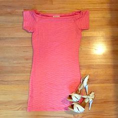 Coral/pink ruched bodycon summer dress! SALE NWOT, never worn!  Arden B bodycon, ruched mini dress.  Stretchy material!  Pink/ coral color.  Can also be worn off the shoulder.  Size medium!  Perfect summer dress! Arden B Dresses
