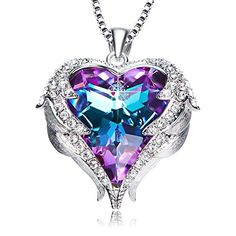 Buy Purple Love Heart Pendant Necklaces Gifts for Wife Romantic Swarovski Necklace Fashion Jewelry Birthday Gifts for Women | Review