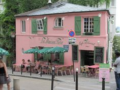 La Maison Rose Cafe Restaurant (The Pink House Cafe Restaurant) Paris, France Cafe Pictures, Pink Cafe, Italian Cafe, Cafe House, I Believe In Pink, Paris Cafe, Paris Restaurants, Pink Houses, Beautiful Architecture