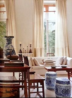 MY Chinese benches, vases, table, and white sofa ~ The Relished Roost: MILIEU Southern Living Rooms, British Colonial Decor, Interior Decorating, Interior Design, Blue And White China, Grey Walls, Furniture Decor, Canvas Curtains, Garden Stools