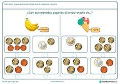 Para practicar el uso de las monedas, descarga esta ficha de hallar el precio exacto para niños de segundo de Primaria. ¡Descarga ya!