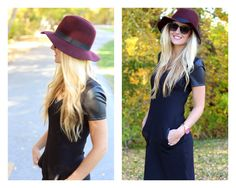 salty blondes fashion blog. Leather sleeves and pockets make this our favorite new LBD
