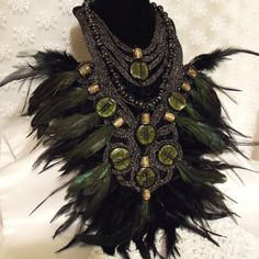 Large Feather n Glass Necklace n  Earring Set, Dramatic Statement Haute Couture Demi Parure.     Amazing
