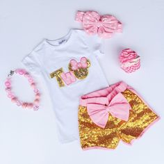 """""""Two"""" Pink Minnie Sequin Short Outfit #boutique-outfits #new #perfect-sets #spring-line"""