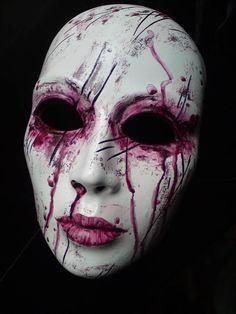 Creepy Masks, Cool Masks, Creepy Art, Mascaras Halloween, Halloween Masks, Halloween Makeup, Ceramic Mask, Beautiful Dark Art, Mask Painting