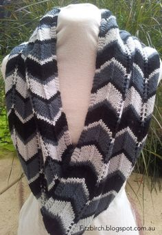 Free Chevron Infinity Scarf knitting pattern---I made a baby blanket with a similar stitch...it's really very nice to work!