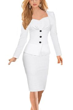 Babyonlinedress® Office OL Wear to Work Long Sleeve Bodycon Casual Party Pencil Dress: Babyonline White Long Sleeves Dresses ruched pleats Bodice Short Party Gown Half Sleeve Dresses, Dresses With Sleeves, Pencil Skirt Casual, Pencil Dress, Pencil Skirts, Casual Party Dresses, Business Dresses, Business Wear, Mode Style