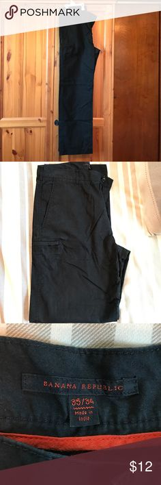 Banana Republic Black Pants 65% Cotton. 35% Nylon. Very lightweight and comfortable. Straight thru the leg. A nice, light summer pair of pants for work or casual. Banana Republic Pants Chinos & Khakis
