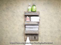 BATHROOM SHELF with Hooks, Rustic Bathroom Decor, Rustic Towel Rack, Bathroom Shelf, Rustic Kitchen Decor, Rustic Home Decor, Rustic Shelf