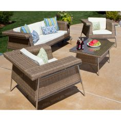 Draper Outdoor Four-piece Set | Overstock.com Shopping - Big Discounts on Draper Sofas, Chairs & Sectionals
