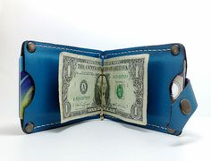 Hand stitched Money Clip in cowhide two interior pockets by TIZART, $34.00