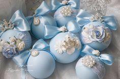 Купить Набор новогодних украшений - голубой, новогодние шары, новогоднее украшение, новогодний подарок