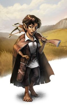 Female Halfling Rogue - Pathfinder PFRPG DND D&D d20 fantasy